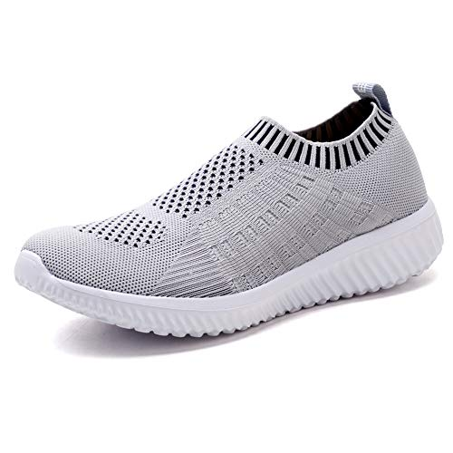 TIOSEBON Women's Athletic Walking Shoes Casual Mesh-Comfortable Work Sneakers 6.5 US Light Gray (Best Light Walking Shoes)