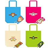 SMTHOME Reusable Grocery Bags Recycle Shopping Tote Super Loading Foldable Ripstop Thick Nylon 2 Pack (Off-white+Green+Blue+Rose red)