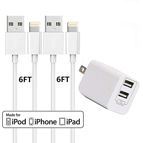 (Wall Chargers with 2x6 FT iPhone Charging Cables,Sharllen Dual Port USB Plug Power Adapter Travel iPhone Charger Cord Compatible iPhone Xs/Max/XR/X/8 Plus/8/7/7Plus/6s P/6/6P/iPad/iPod White 2 Pack)