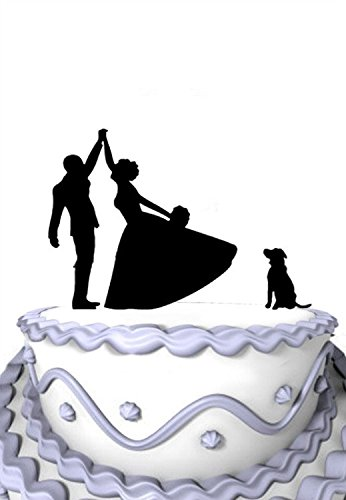 Meijiafei Bride and Groom High five Silhouette with Labrador Dog Cake Topper