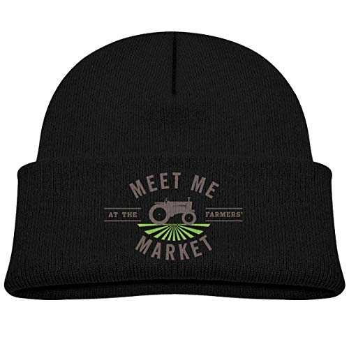 HAPPY-M Kids Knitted Beanies Hat Meet Me at The Farmers Market Winter Hat Knitted Skull Cap for Boys Girls Pink