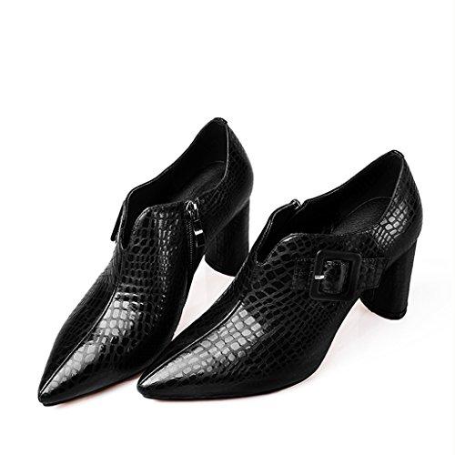 Profunda Primavera De Mujeres Tacones Juvenil Pequeños Nueva Femeninos Yubin Gruesa Boca Con Zapatos Solos Acentuados Cuero Altos Hembra Zgdxq