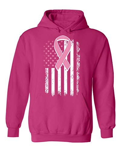 Pink Ribbon Hooded T-shirt - H&T Shirts Pink Breast Cancer Awareness US Flag Ribbon Unisex Pullover Hoodie Hooded (Pink,Small)