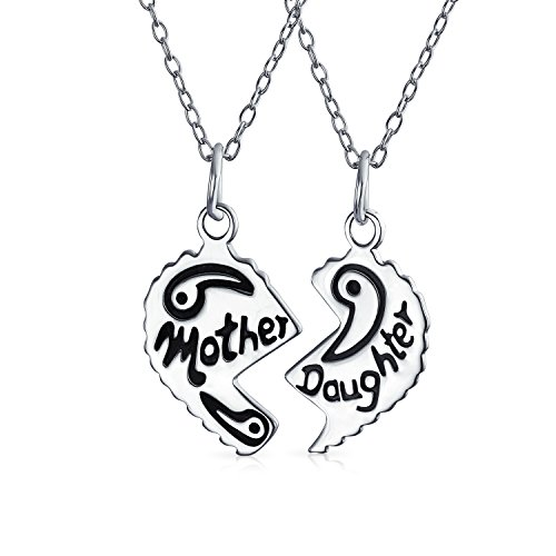 (Bff Split Heart Break Apart Puzzle Gift Engrave Word Mother Daughter Pendant Necklace For Mom 925 Sterling Silver)