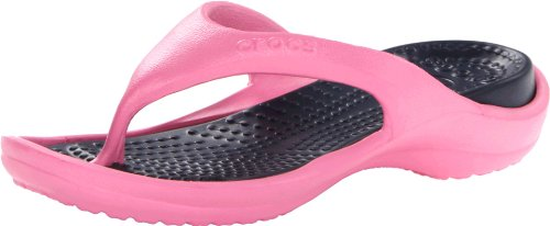 (Crocs Men's 10024 Athens Flip Flop,Pink Lemonade/Navy,4 M US)