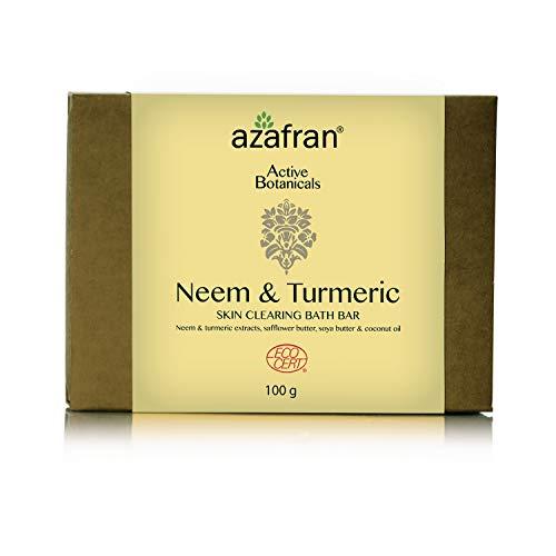 Azafran Neem & Turmeric Organic Soap, 100% Vegan, Face, Hand & Body Wash, Premium Clear Skin Soap Bar, 3.5 Oz