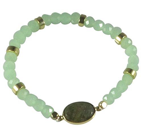 [Dragonfly Spirit Designs Stretch Bracelet Handcrafted Glass Beads Natural Stone (Green)] (Glass Lightweight Bracelet)
