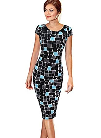 VfEmage Women's Printed Patterned Casual Slimming Fitted Stretch Bodycon Dress 2499 TAT 14