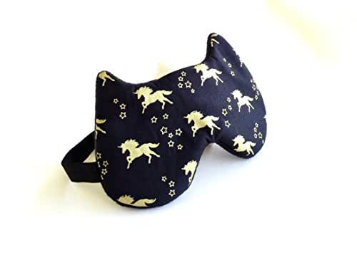 Handmade Cat Shape Sleep Mask-Great for Travel, Shift Work, Meditation, Migraines- Unicorn Print Sleeping Mask-Sleeping Mask for Women Men Kids.