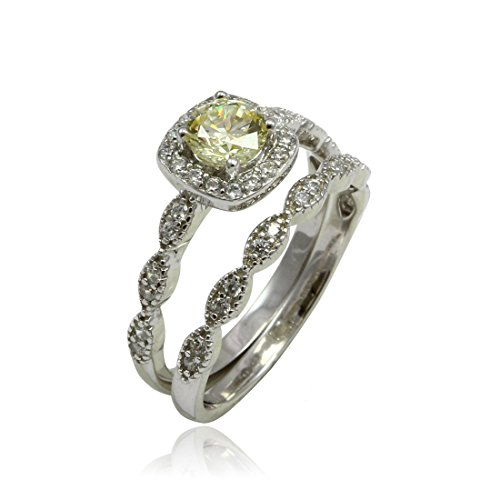 Art Deco Vintage Design Halo Wedding Engagement Bridal Set Ring Band Round Simulated Fancy Canary Yellow CZ 925 Sterling Silver