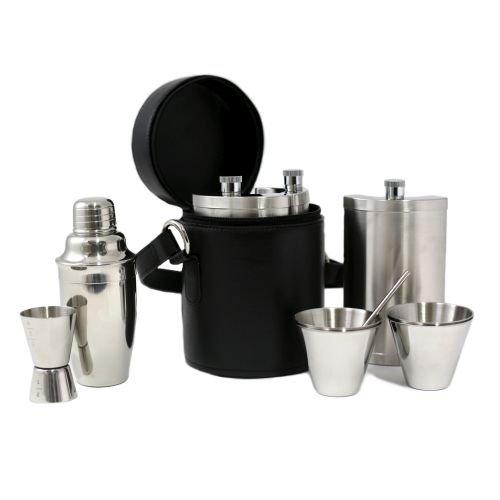 10 Piece Set; 3 Flasks 8 oz.x3, Shaker, Jigger, Stirrer w/ 4
