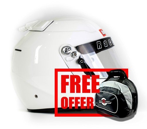 RaceQuip 263115 PRO15 Top Air Helmet SA2015 Approved Large Gloss White - Free Deluxe Helmet Bag Included ()