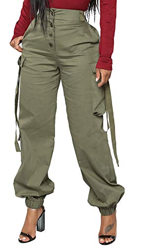 Voghtic Women Casual Cargo Pants Solid Color High Waisted Loose Straight Trousers with Pocket ()