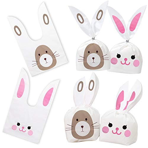 (100PCS Easter Bunny Treat Bags, Candy Gift Wrap Bags Rabbit Ear Bags with Twist Ties Party Favors Supplies)