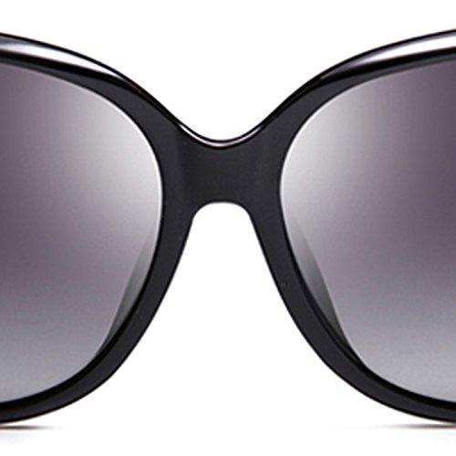 Gafas Sol LIUXUEPING Personalidad Rojo De Sol UV Nuevas De Color Marco Gran Gafas De Negro Zw85wqUx