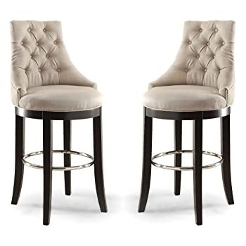 grey fabric bar stools uk canada wholesale interiors harmony button tufted upholstered stool metal footrest beige