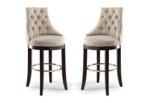 Wholesale Interiors Harmony Button-Tufted Fabric Upholstered Bar Stool with Metal Footrest, Beige