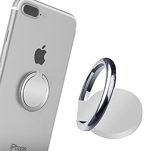 Phone Ring, Phone Ring Stand, 360°Rotation and 180°Flip Universal Ring Holder Grip Kickstand Mount Phone Ring for iPhone 7 7 Plus 6S 6, Samsung Galaxy S6 S7, Note, LG (Silver)