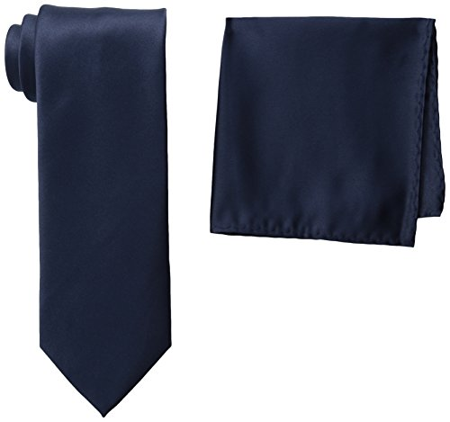 Stacy Adams Men's Tall Plus Size Satin Solid Tie Set Extra Long, Navy, One (Stacy Adams Ties)