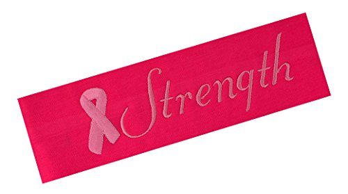 Head Emb - Personalized Breast Cancer Awareness Pink Ribbon Embroidered Headband - Your Custom Text (Hot Pink Headband with Pink Thread)