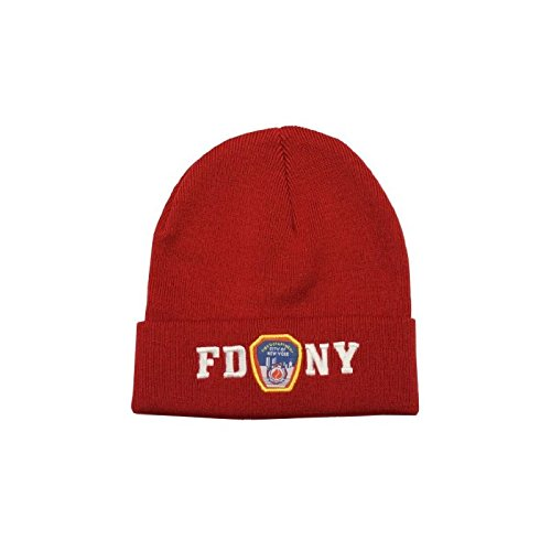 FDNY Winter Hat Police Badge Fire Department of New York City Red /& White One.