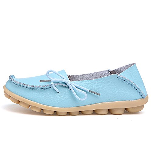 CIOR Womens Genuine Leather Loafers Casual Moccasin Driving Shoes Indoor Flat Slip-on Slippers Light Blue p3SedJa2