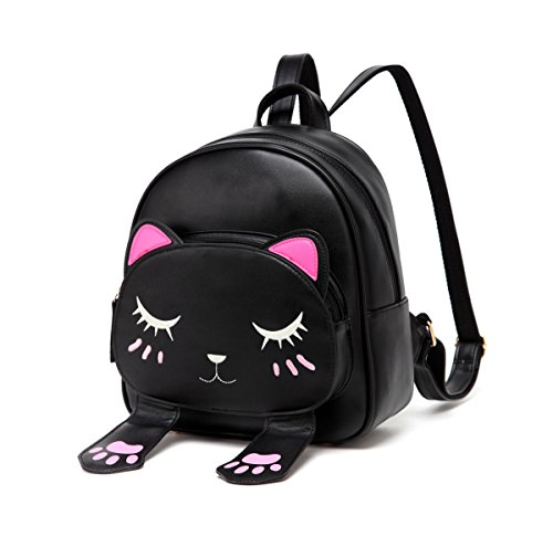 Animal Purse (DIOMO Women Kids Backpack For Girls Satchel School Book Bag Cute Cat Travel Daypack (Black))