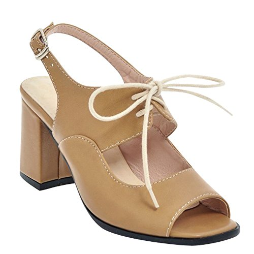 Mee Shoes Damen Chunky Heels Backstrap Schnalle Sandalen