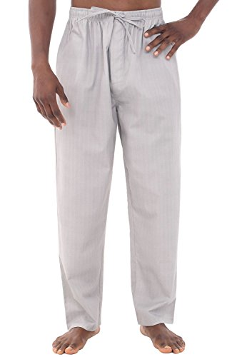 Del Rossa Mens Cotton Striped Pajama Pants, Long Woven Pj Bottoms