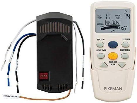 Pikeman Ventilador de techo universal termostático LCD w ventilador temporizador y luz de intensidad regulable mando a distancia y receptor Kit completo reemplazar Hampton Bay fan-9t l3hfan9t: Amazon.es: Bricolaje y herramientas