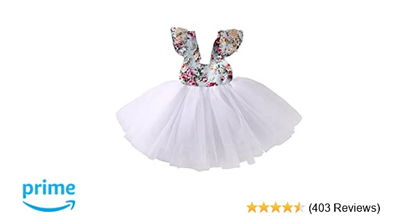 c66cc784801b Amazon.com  Newborn Toddler Baby Girls Floral Dress Party Ball Gown ...