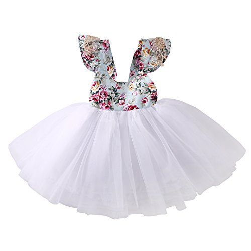 Newborn toddler baby girls floral dress party ball gown lace tutu formal dresses sundress 0 3m white