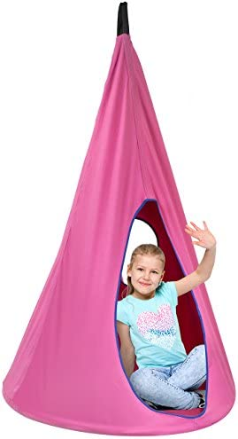 Sorbus Kids Nest Swing Chair Nook Hanging Seat Hammock for Indoor Outdoor Use Great for Children, All Accessories Included, 33 Inch 33 Inch, Nest Pink