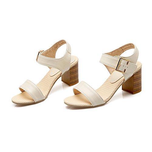WeenFashion Kitten Beige Pu Sandals Heels Solid Women's Buckle OOw6q7BPx
