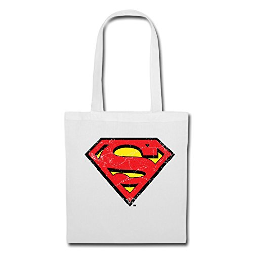 Spreadshirt DC Comics Superman Logo Used Look Stoffbeutel Weiß ouqn6