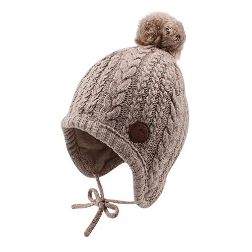 Cutegogo Christmas Crochet Baby Beanie Earflaps Little Girl Boy Knit Infant Hats Winter Warm Cap Lined Polyester Santa (Khaki, L) -