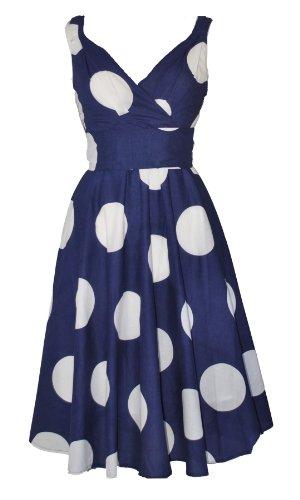 Femme rétro Vintage années 50 's Style Large Motif pois Bleu marine 100%  coton léger de robe