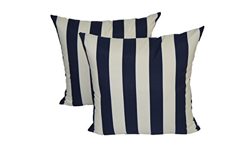 Set of 2 - Indoor / Outdoor 17'' Square Decorative Throw / Toss Pillows - Navy Blue & Ivory Stripe by Resort Spa Home Decor