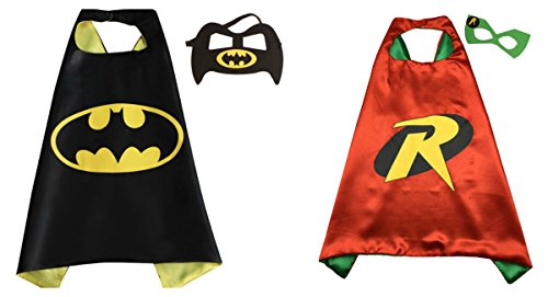 [Batman & Robin Costumes - 2 Capes, 2 Masks with Gift Box by Superheroes] (Kids Batman And Robin Costumes)