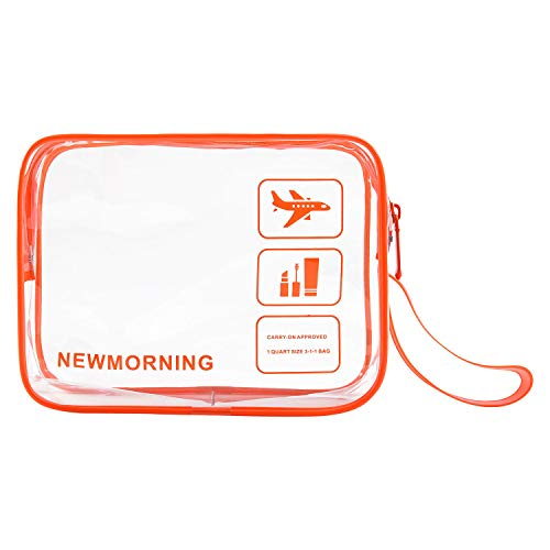 Travel Accessories TSA Approved Bag Travel Clear Toiletry Bag Quart Size 3-1-1with Zipper For Airline Cosmetic Bag Small luggage Travel Bag For liquids,Toothbrush,Razor.etc For Men/Women/Child.Orange