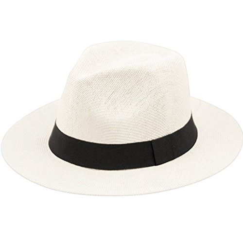 (ANGELA & WILLIAM The Original Panama Matte Toyo Straw Sun Safari Hat (White))