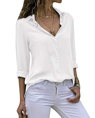 Yidarton Women's Long Sleeve V Neck Chiffon Blouses Tops Button Down Business Shirts(White,XXL)