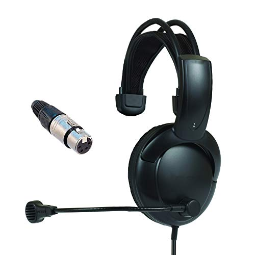 Single muff Intercom Headphones with Female XLR Four pin Connector Clearcom