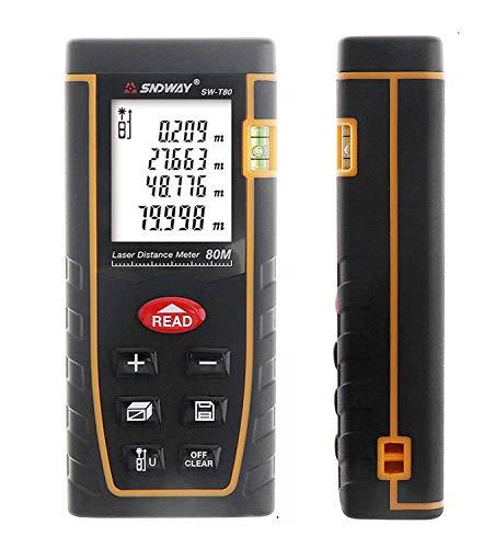 SNDWAY SW-T80 80M 262FT Laser Distance Meter Digital Diastmeter Laser Range Finder Meter Area Volume Measure Tool with LCD 4 Line Display ()