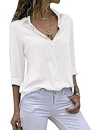 Women's Long Sleeve V Neck Chiffon Blouses Tops Button Down Business Shirts