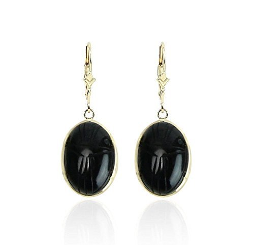 - 14K Yellow Gold Gemstone Earrings With Oval Shaped Black Onyx