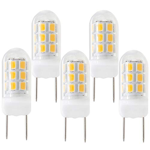 - New G8 LED Light Bulb, Dimmable G8 GY8.6 Bi-pin Base, 3W 120V 20W 35W Halogen Replacement Bulb for Under Counter Kitchen Lighting, Under-Cabinet Light, Puck Light (5-Pack) (Warm Color)