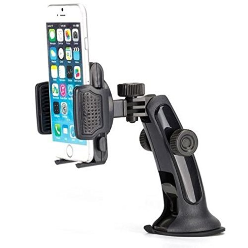 3-in-1 Car Mount Windshield Dash AC Airvent Holder Stand Window Glass Dock Multi-Angle Rotating for ZTE Blade X MAX, Grand X Max 2, X3, X4, Duo LTE, XL, ZMax Pro Z981