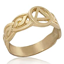 """Alcoholics Anonymous Solid 10K Yellow Gold AA 3/8"""" Celtic Knot Unity Ring"""