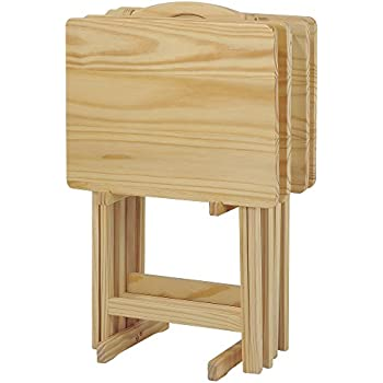 Casual Home 660 40 5 Piece Tray Table Set, Natural